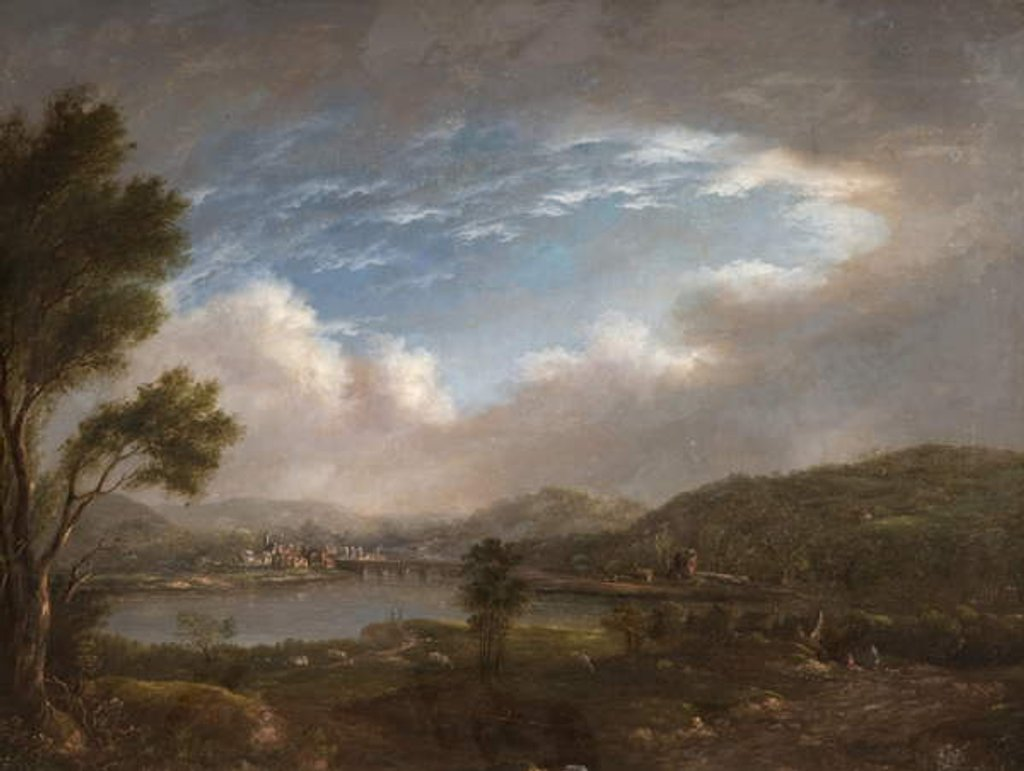Detail of River Scene by John Warwick Smith