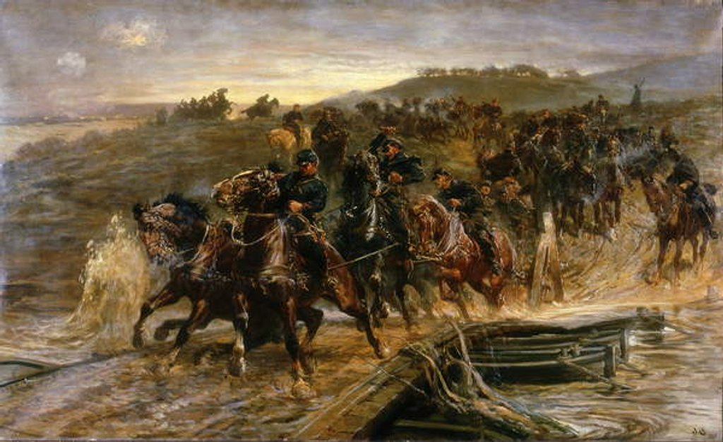 Detail of French Artillery Crossing the Flooded Aisne and Saving the Guns, 1915 by John Charlton