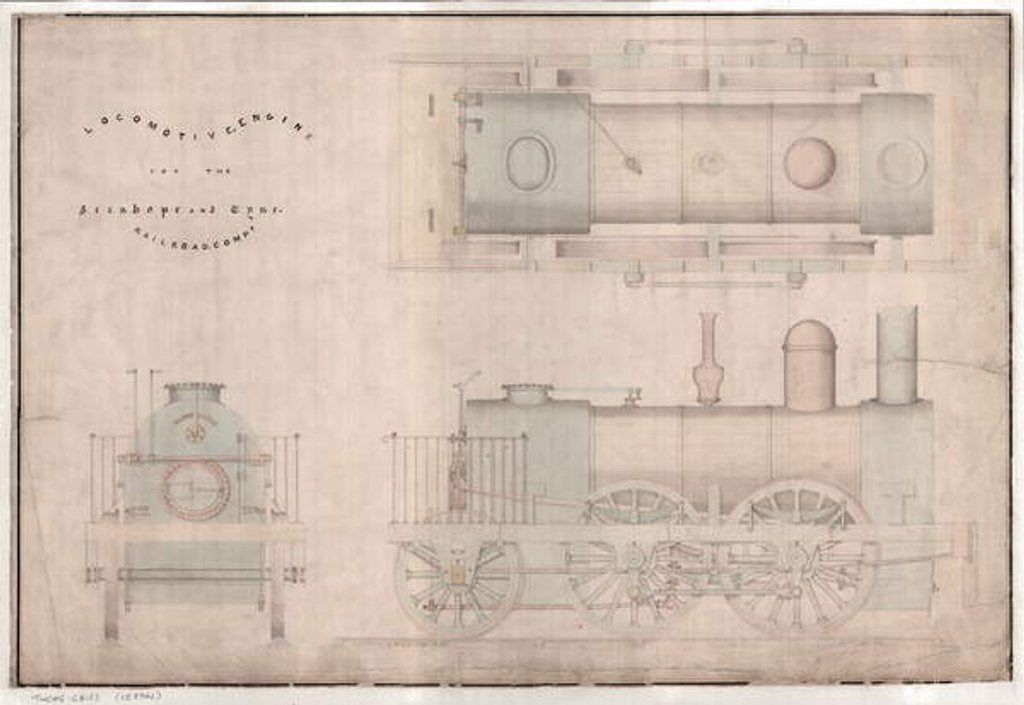 Detail of Construction drawing, 0-4-2 locomotive and tender by R. and W. Hawthorn and Co. for the Stanhope and Tyne Railway Co by English School