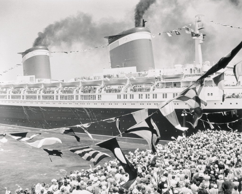 Detail of Huge Crowd Near Smoking Liner Leaving Pier by Corbis