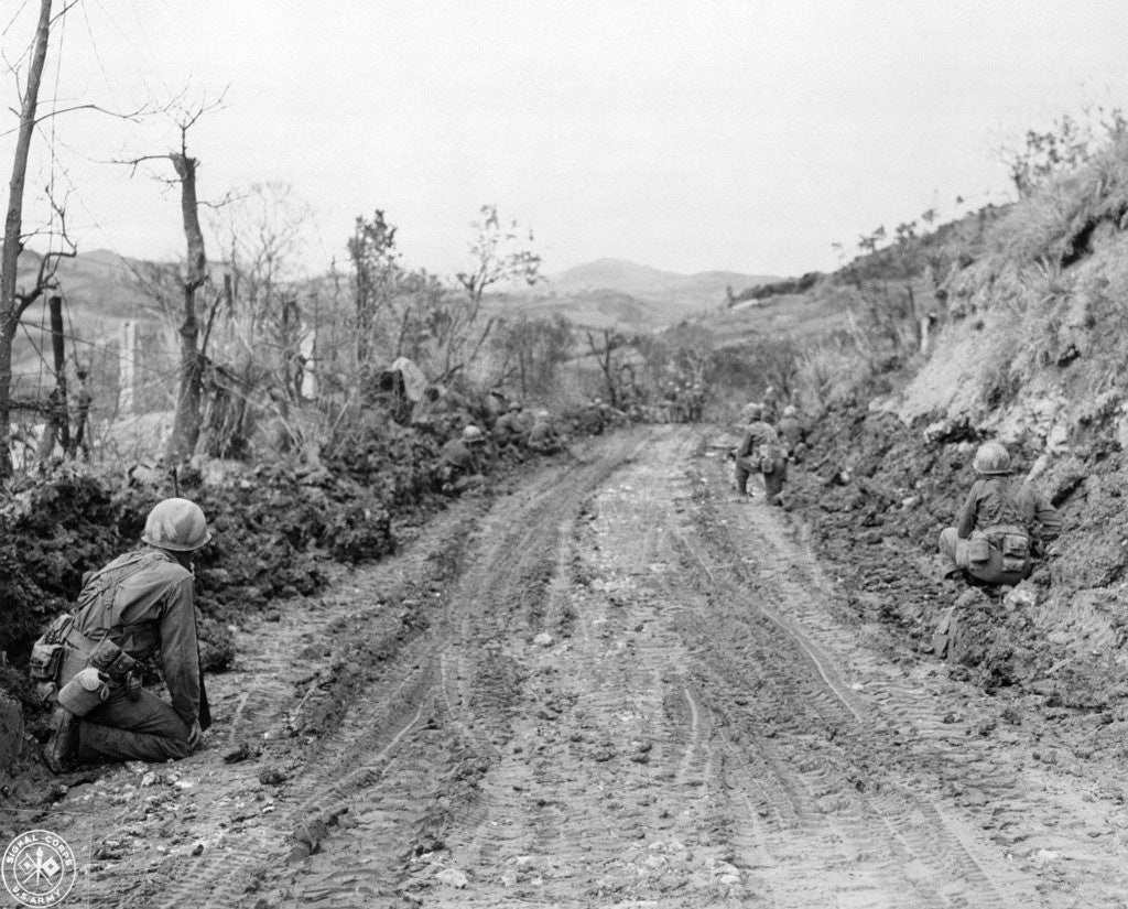 Detail of American Soldiers Kneeling on Side of Road in Okinawa by Corbis