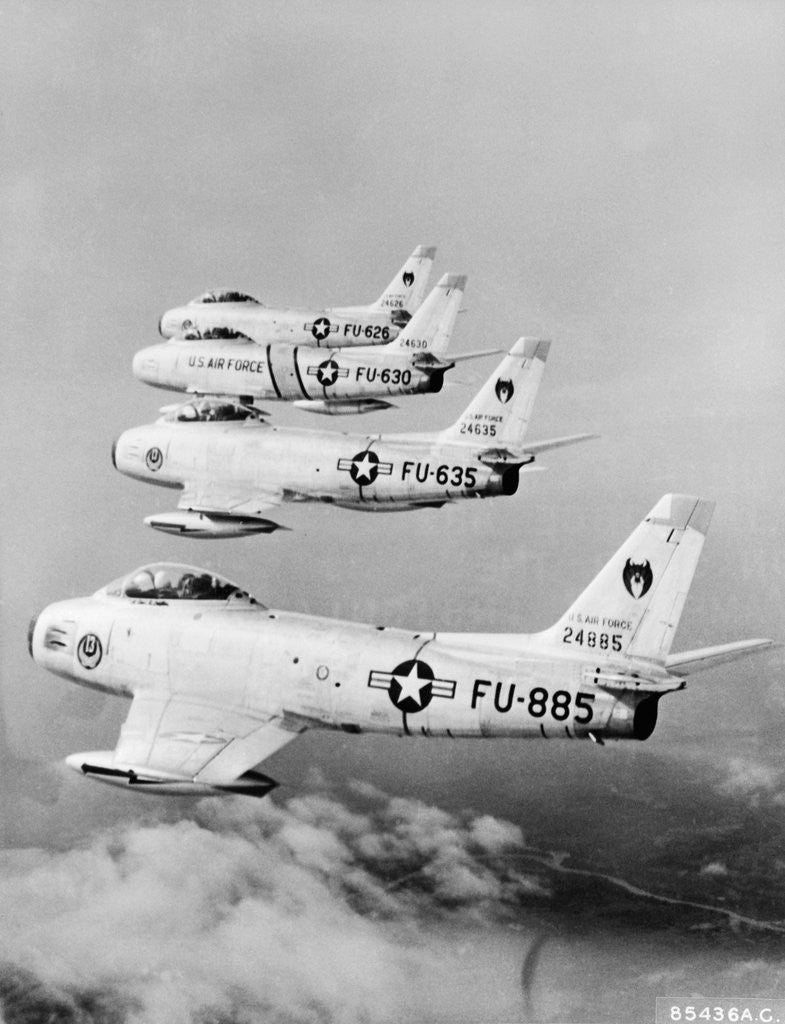 Detail of Flight of F-86 Sabrejets Guard the Philippines by Corbis