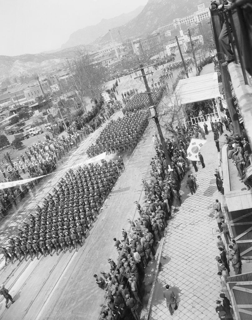 Detail of Aerial View of a Military Parade by Corbis