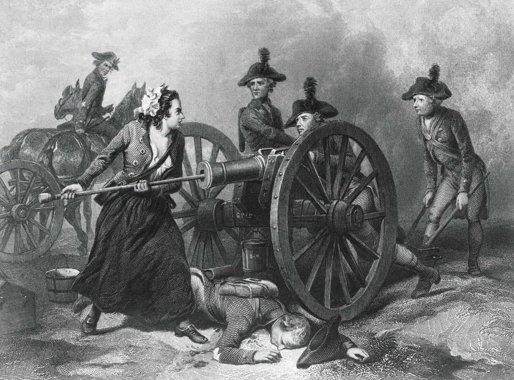 Detail of Engraving of Molly Pitcher Loading Cannon at the Battle of Monmouth by Corbis