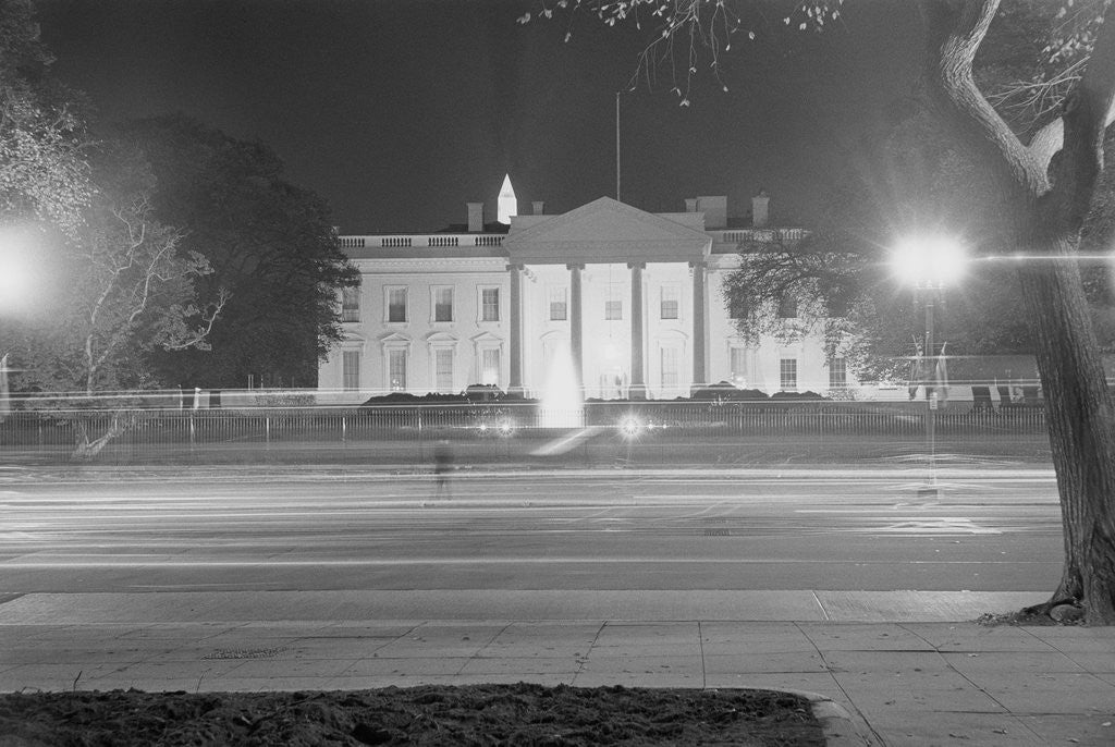 Detail of Exterior of White House at Night by Corbis