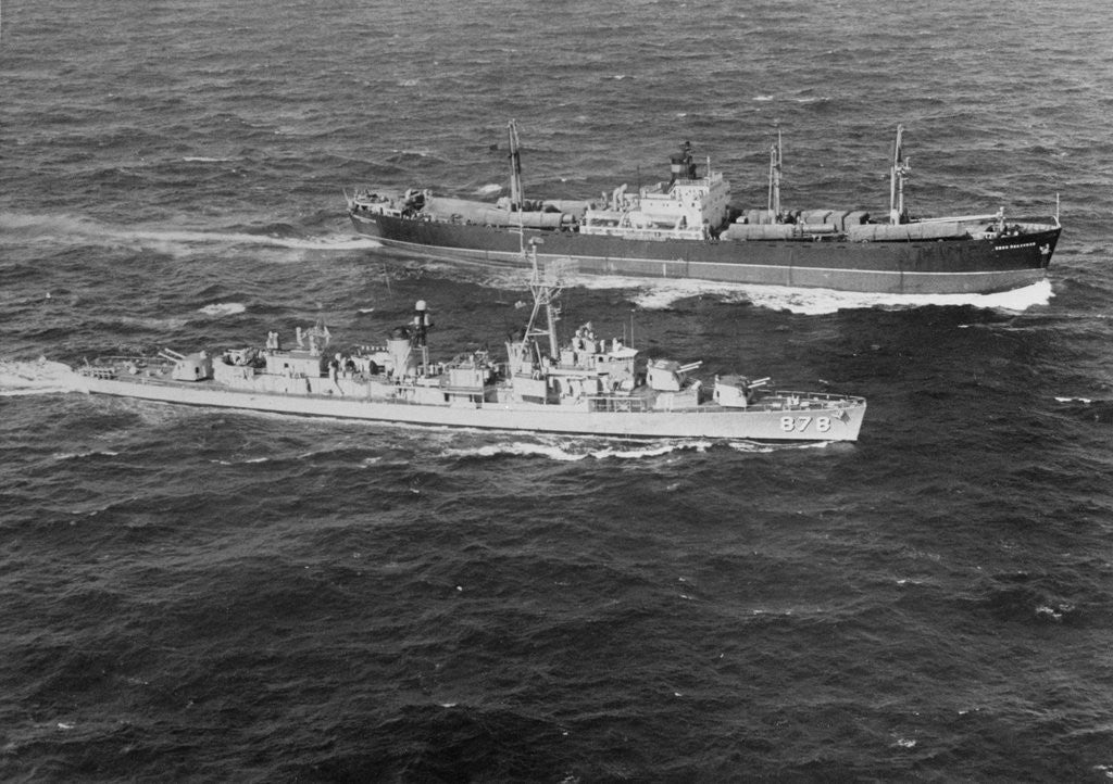 Detail of United States Destroyer Intercepting Soviet Freighter by Corbis