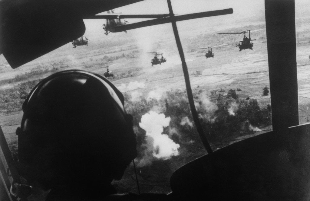 Detail of Bell UH-1 Huey Squadron Firing on Vietcong by Corbis