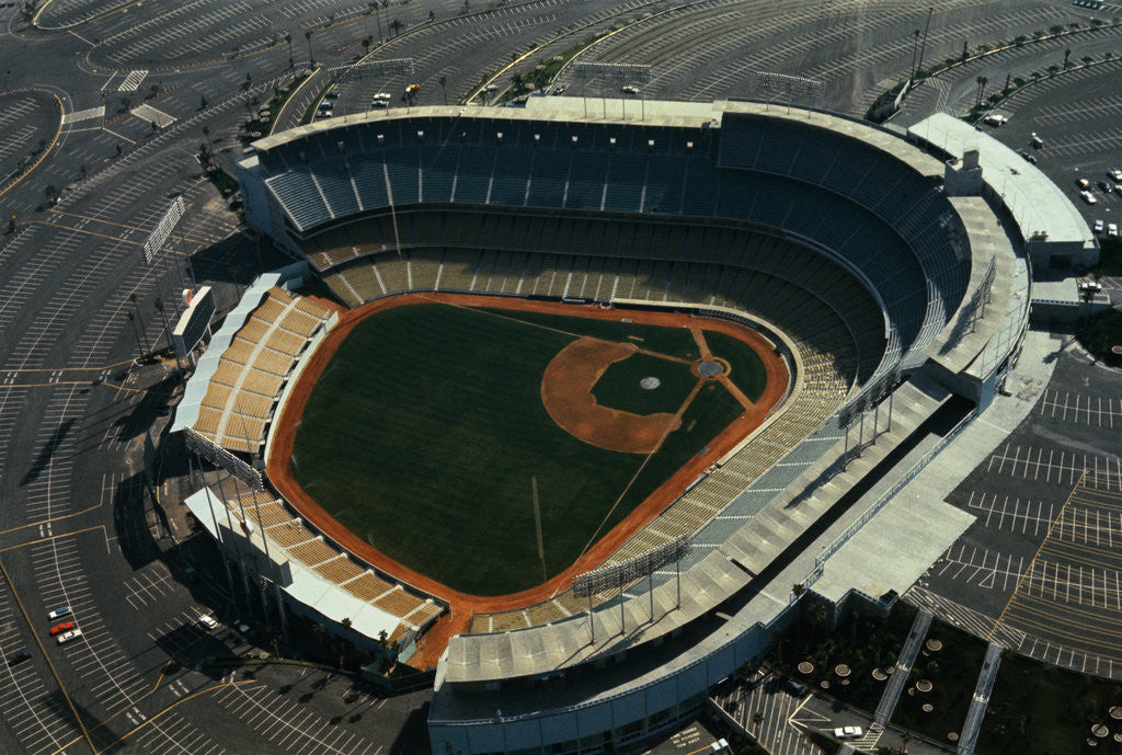 Detail of Aerial View of Dodger Stadium with Parking Lots by Corbis