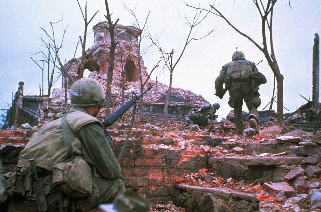 Detail of American Marines Advancing up Outer Wall of Citadel by Corbis