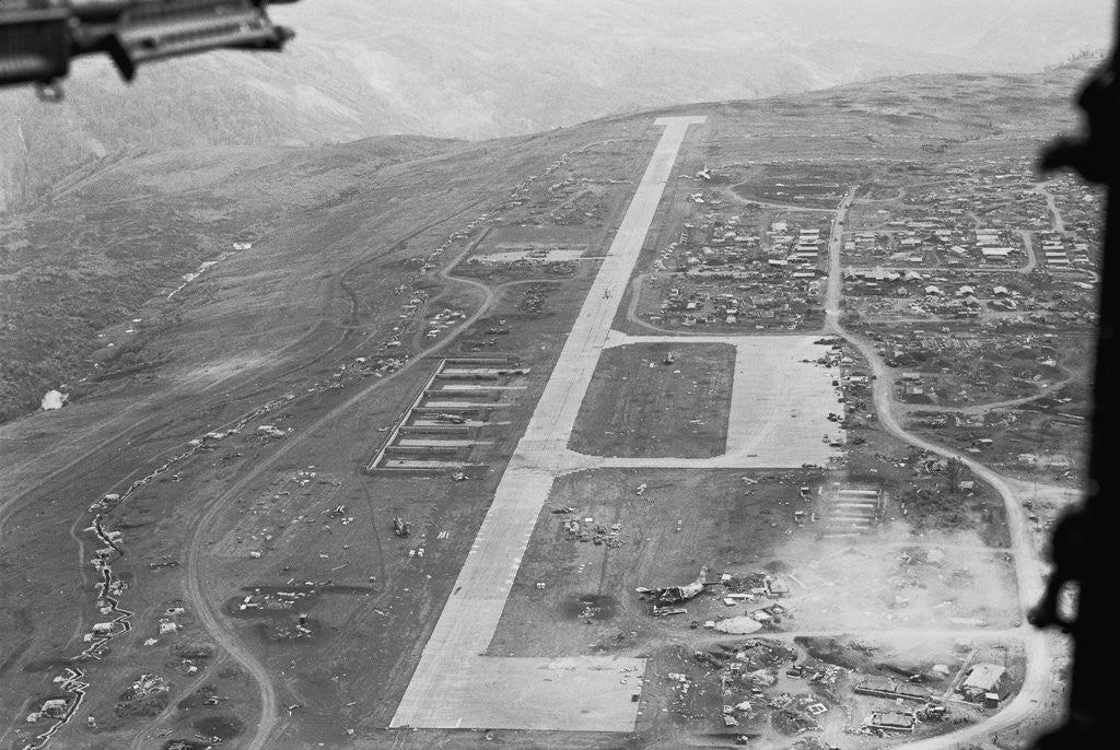 Detail of Aerial View of Airstrip and Air Force Base by Corbis
