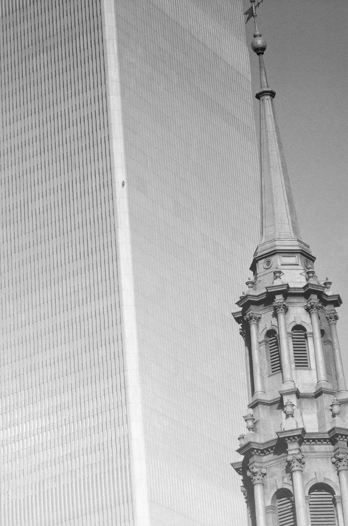 Detail of George Willig Climbing World Trade Center by Corbis