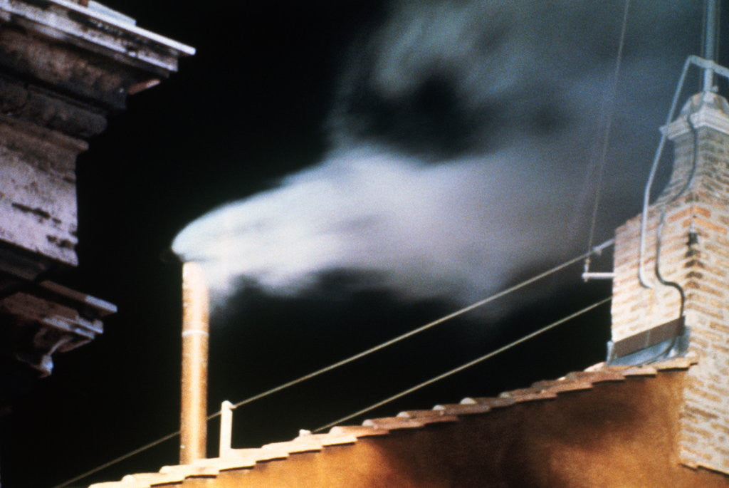 Detail of Chimney Emitting White Smoke Announcing Pope's Election by Corbis