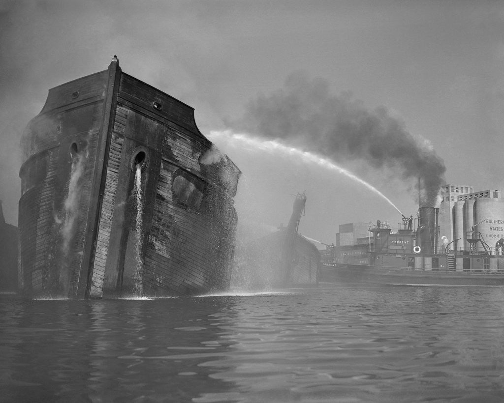 Detail of Fireboat Dousing Wooden Ship by Corbis