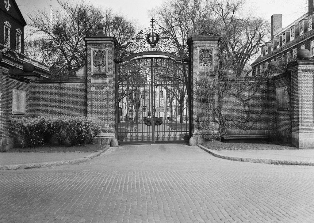 Detail of Gate Entrance to Harvard University by Corbis