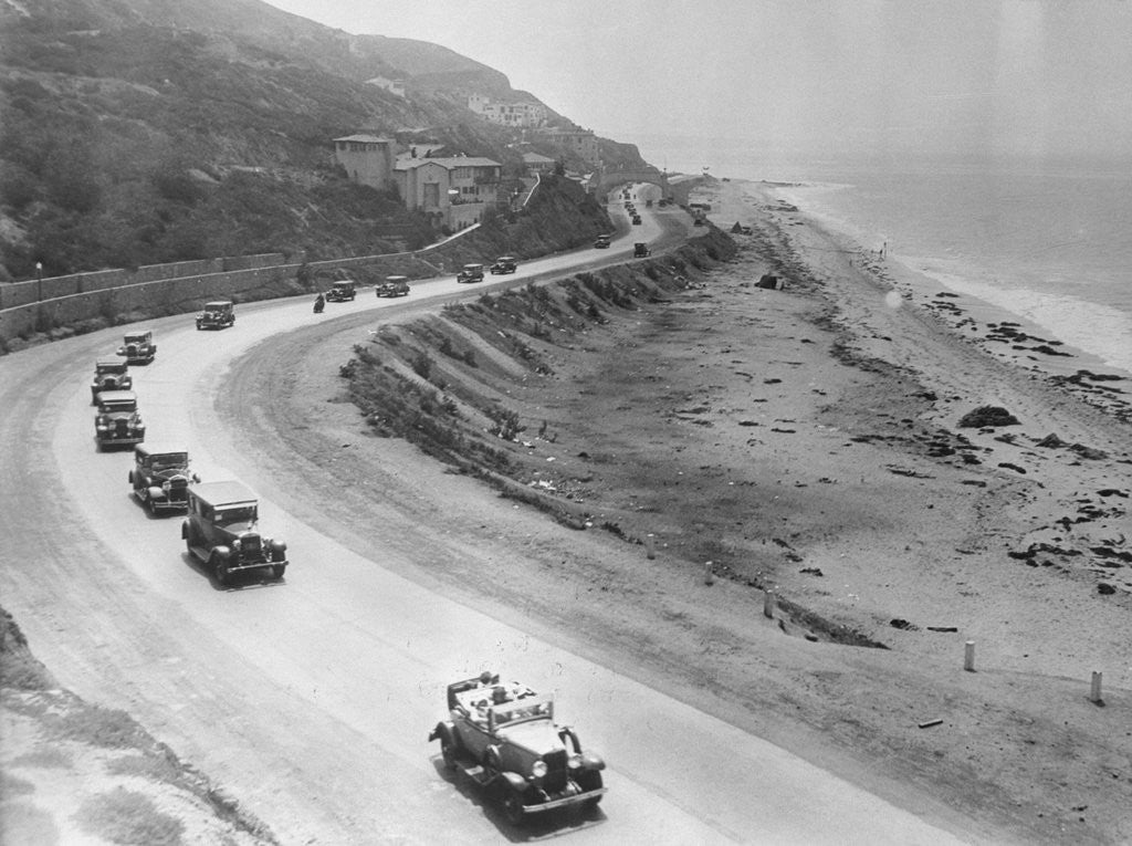 Detail of Automobiles Driving Along a Highway by Corbis