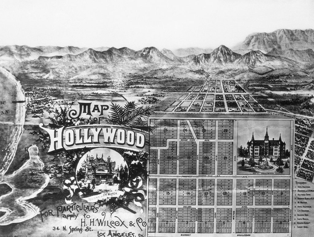 Early Map of Holllywood by Corbis