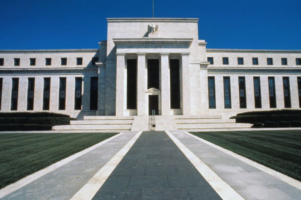 Detail of Front of Federal Reserve Building by Corbis