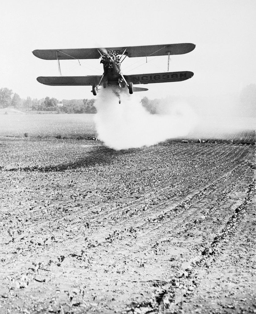 Detail of Bi-Plane Dusting Field with Pesticides by Corbis