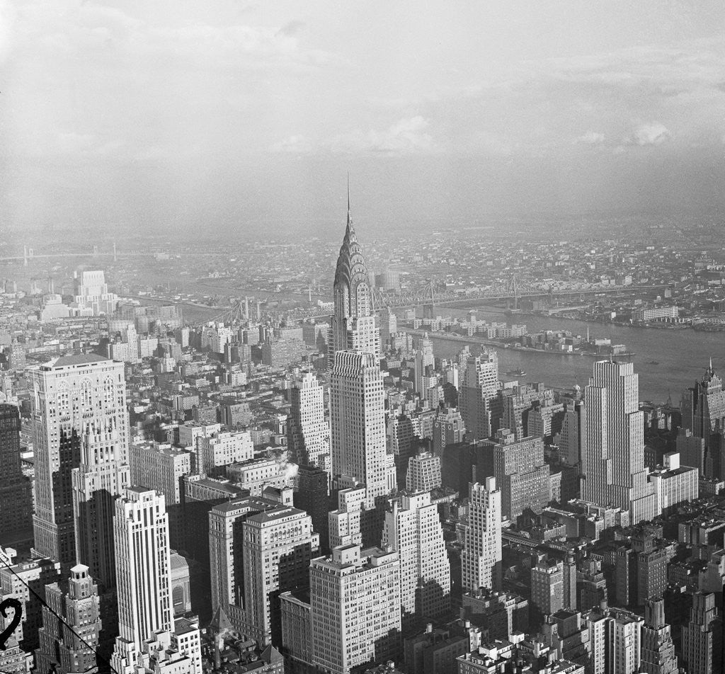Detail of Aerial View of Chrysler Building in New York City by Corbis