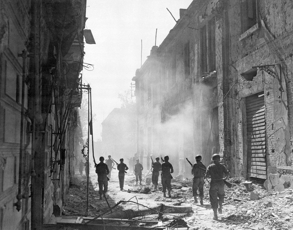 Detail of American Soldiers on War Torn Street of Messina by Corbis