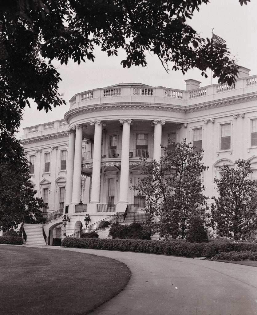 Detail of Exterior View of the White House by Corbis