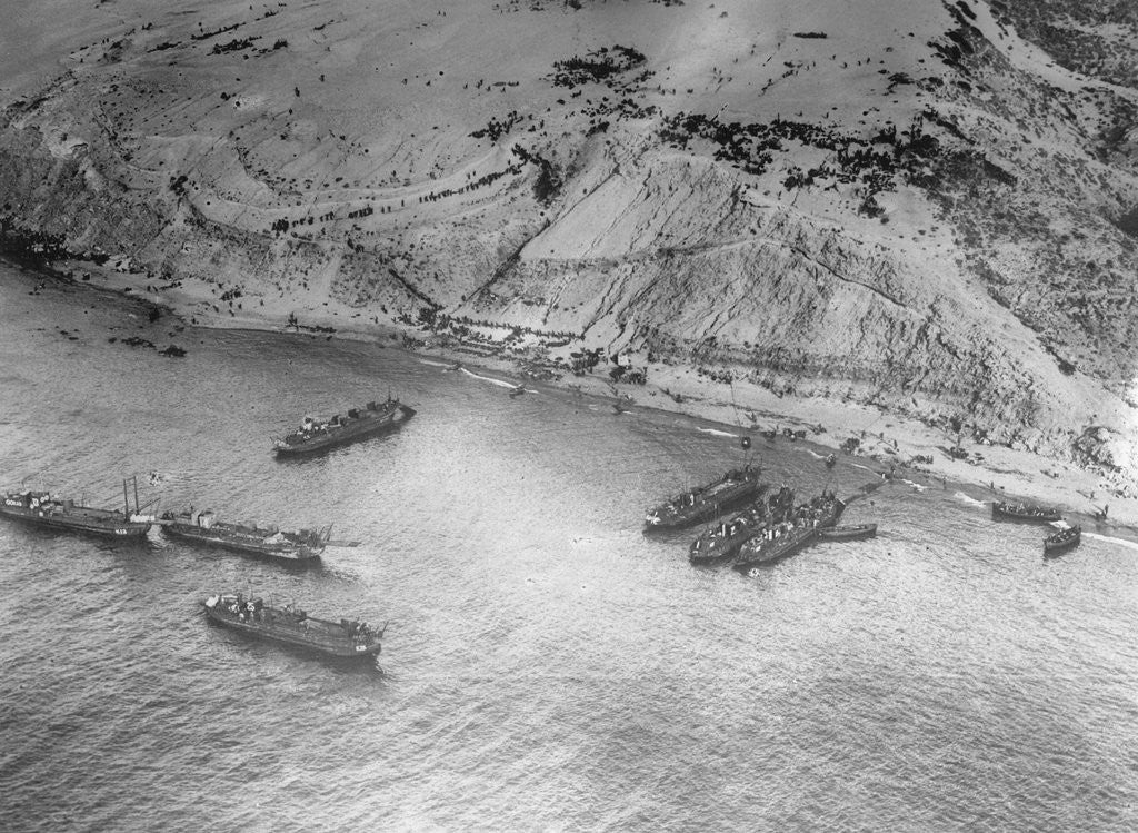Detail of Aerial View of Military Ships by Corbis