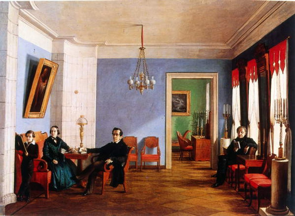Detail of The Batinieva family in their apartment in Moscow, 1846 by Russian School