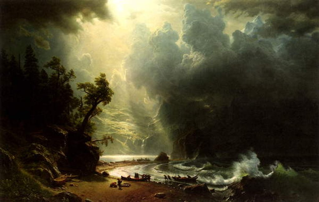 Detail of Puget Sound on the Pacific Coast, 1870 by Albert Bierstadt