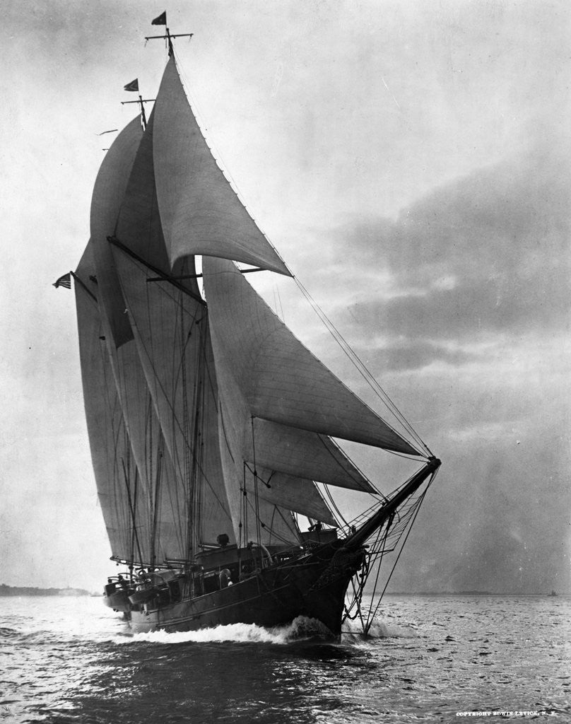 Detail of Auxiliary Schooner with Full Sails by Corbis
