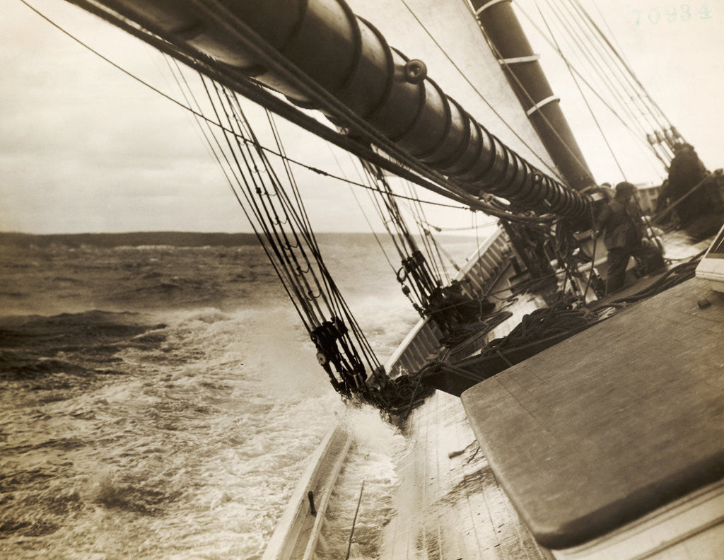 Detail of Bluenose Schooner Leaning to Port During Race by Corbis