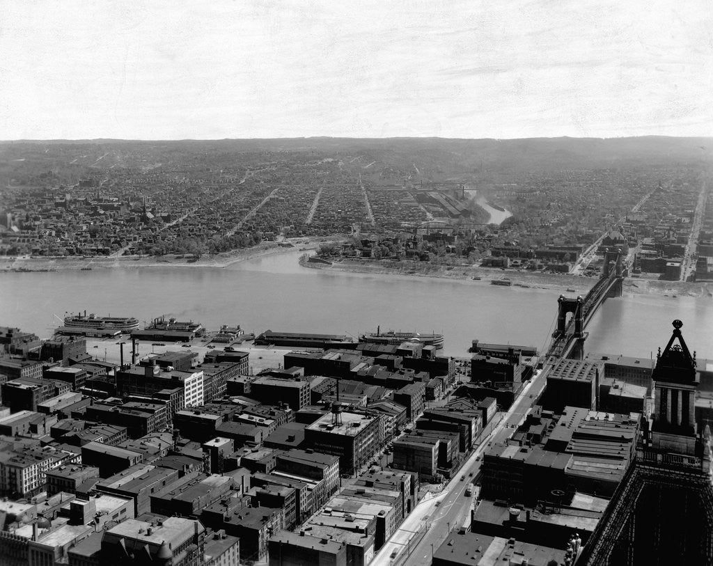 Detail of Cincinnati and Ohio River by Corbis