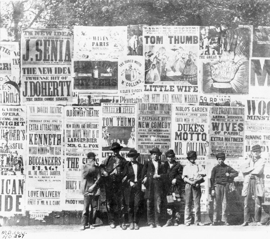 Detail of Boys Standing in Front of Posters by Corbis