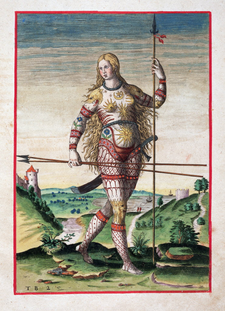 Detail of Hand-Colored Engraving of a Pictish Woman by Theodor de Bry