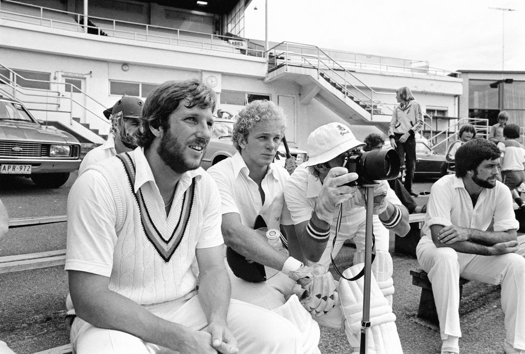 Detail of Ian Botham and David Gower by Anonymous