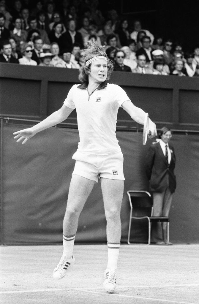 Detail of John McEnroe in action on Court One at Wimbledon against Phil Dent by Anonymous