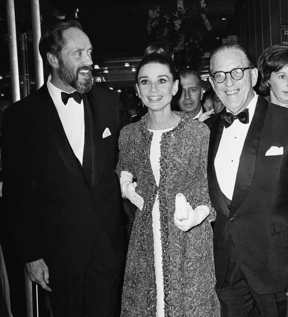 Detail of Audrey Hepburn arrives for the premiere of My Fair Lady in New York with husband Mel Ferrer and Stan Holloway by Anonymous
