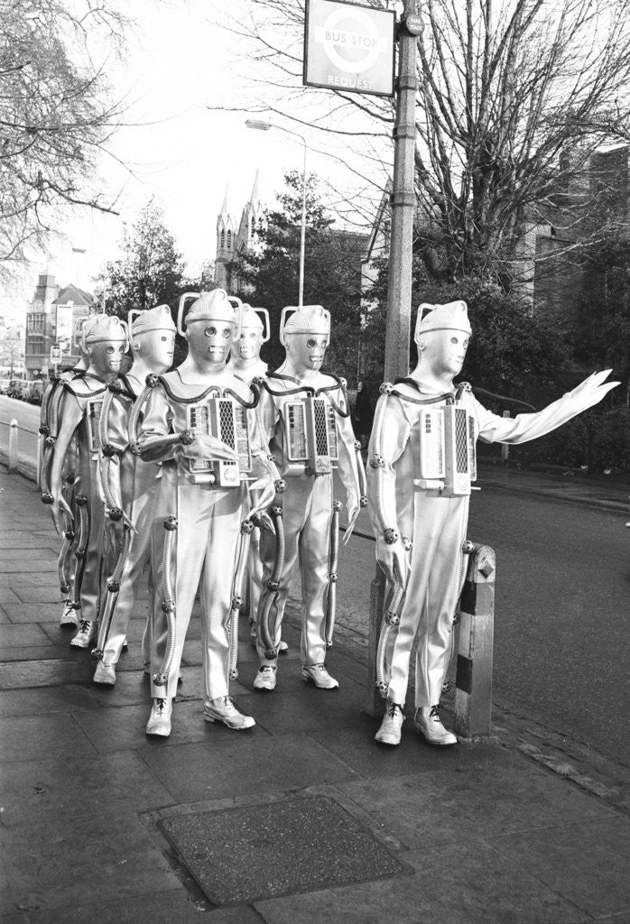 Detail of Cybermen take a break from filming by Anonymous