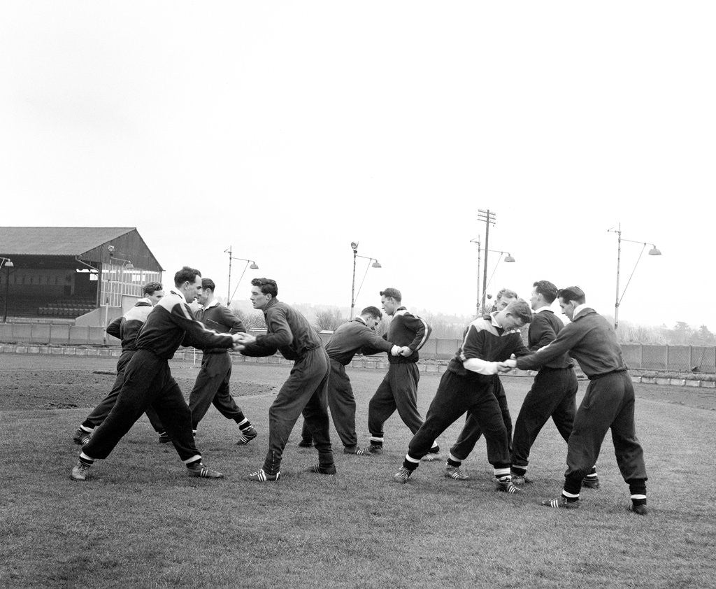 Detail of West Ham training at The Brighton and Hove Greyhound Track with Darlington FC by Staff