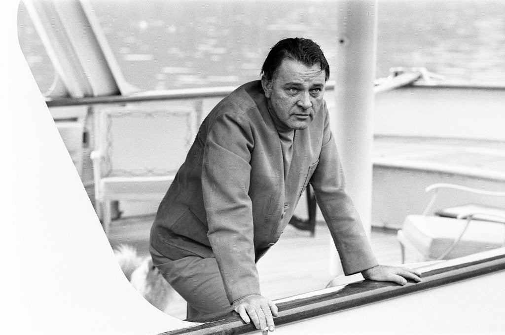 Detail of Richard Burton aboard his yacht by Staff