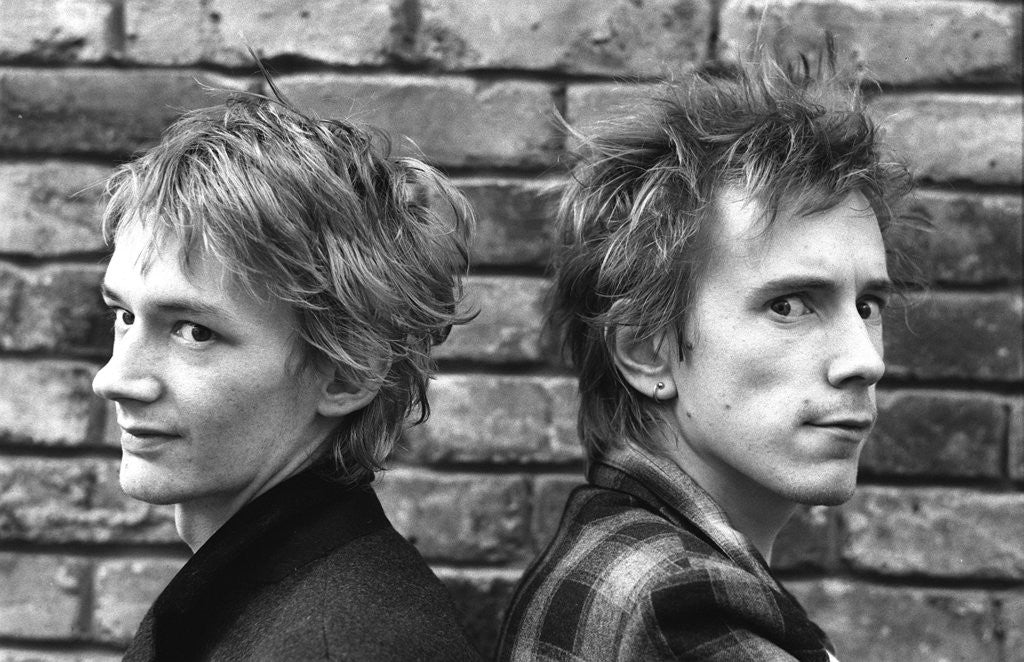 Detail of Ex Sex Pistols John Lydon and Keith Levine 1981 by Mike Maloney