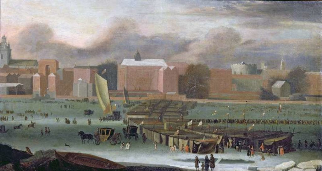 Detail of A Frost Fair on the Thames at Temple Stairs, c.1684 by Abraham Danielsz. Hondius