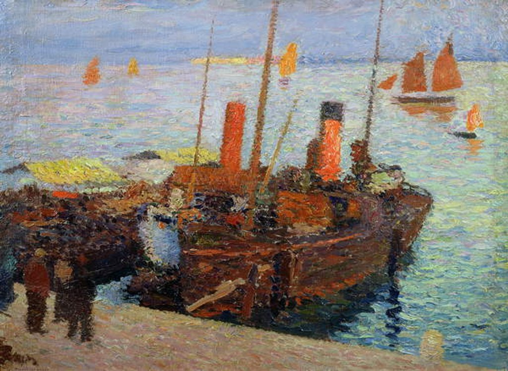 Detail of Boats in the Bay of St. Malo, c.1910 by Henri Martin