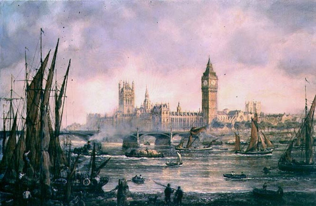 Detail of View of the Houses of Parliament from the River Thames by Richard Willis