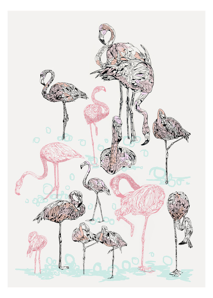 Detail of Pink Flamingos by Susie Wright
