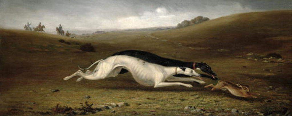 Detail of Hare Coursing in a Landscape, 1870 by John Marshall