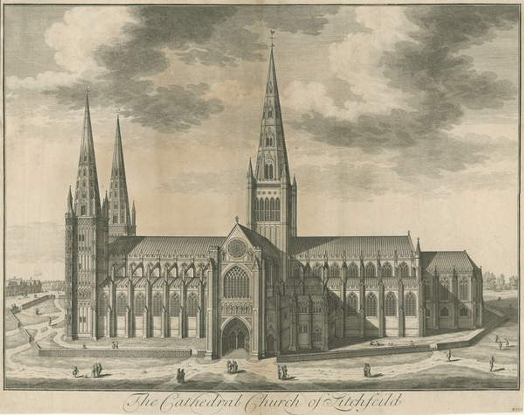 Detail of Lichfield Cathedral - South View by School English