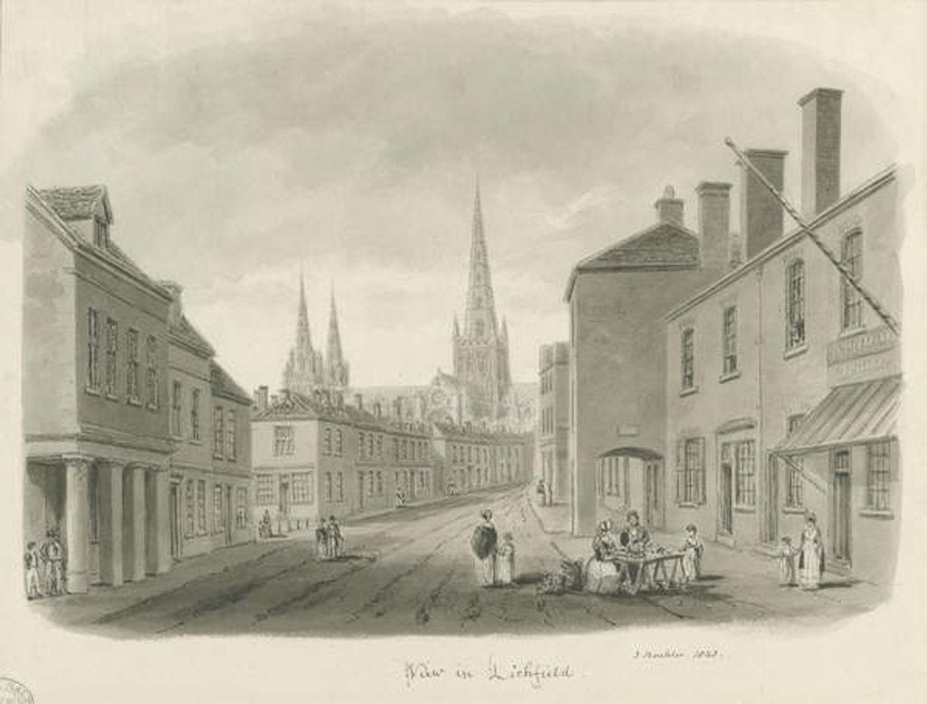 Detail of Lichfield - View of street by John Buckler