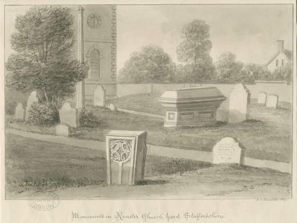 Detail of Rocester Church - Monuments and Church-yard by John Chessell Buckler