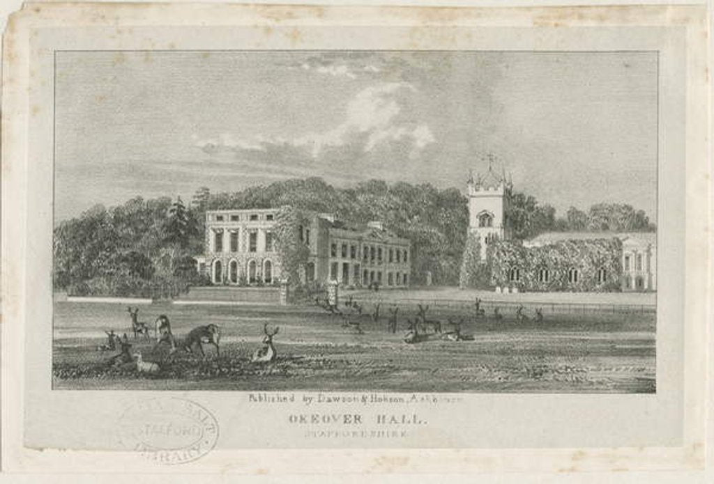 Detail of Okeover Hall - lithograph, nd [c 1839] by School English