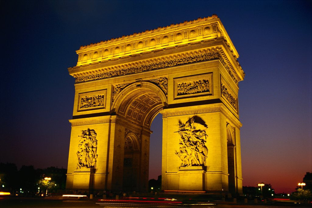 Detail of Arc de Triomphe de l'Etoile Illuminated at Night by Corbis